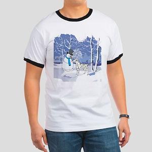 Snowman & Dalmatian Holiday Ringer T