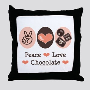 Peace Love Chocolate Throw Pillow
