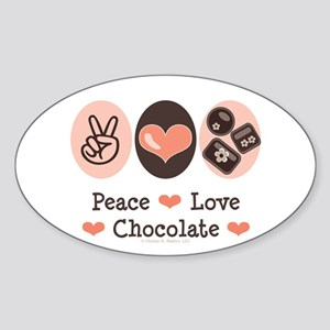 Peace Love Chocolate Oval Sticker
