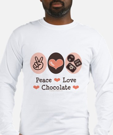 Peace Love Chocolate Long Sleeve T-Shirt