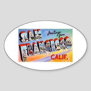 San Francisco California Greetings Oval Sticker