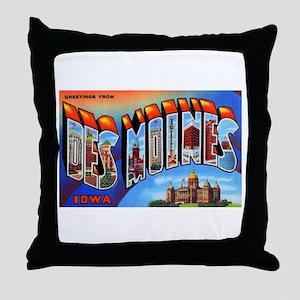 Des Moines Iowa Greetings Throw Pillow