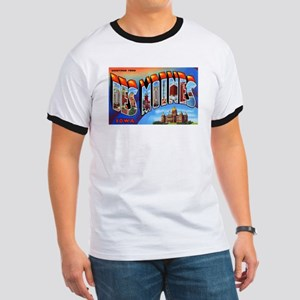 Des Moines Iowa Greetings (Front) Ringer T