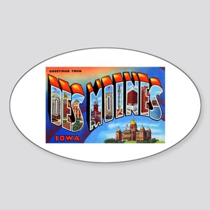 Des Moines Iowa Greetings Oval Sticker