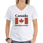 Canada Looks Better Every Day Women's V-Neck T-Shi
