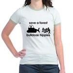Save A Forest, Bulldoze Hippi Jr. Ringer T-Shirt