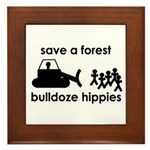 Save A Forest, Bulldoze Hippi Framed Tile