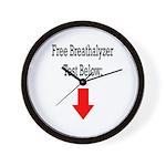 Free Breathalyzer Test Below Wall Clock