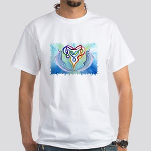 Celtic Dolphin & Heart White Adult T-Shirt