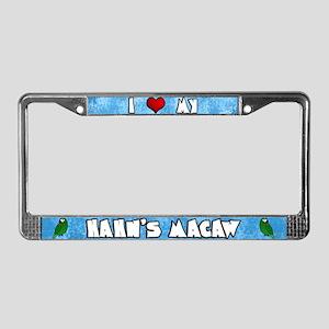 Cartoon I Love my Hahn's Macaw License Plate Frame
