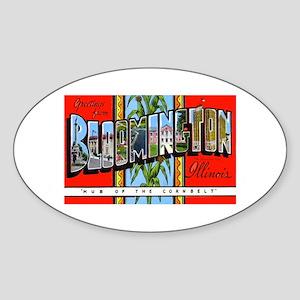Bloomington Illinois Greetings Oval Sticker