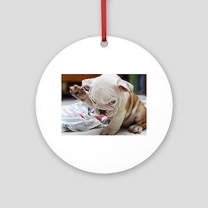Funny English Bulldog Puppy Round Ornament