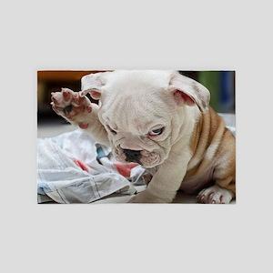 Funny English Bulldog Puppy 4' x 6' Rug