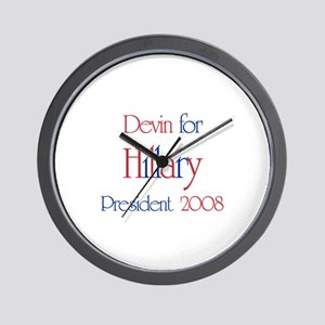 Devin for Hillary 2008 Wall Clock