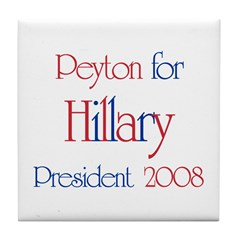 Peyton for Hillary 2008 Tile Coaster