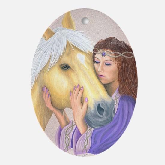 Princess & Her Pony Oval Ornament