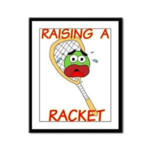 Tennis Player Raising Racket Framed Panel Print