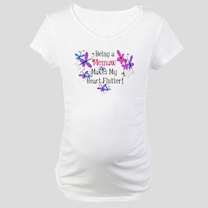 Memaw Heart Flutter Maternity T-Shirt