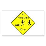 Ax Murderer X-ing Rectangle Sticker