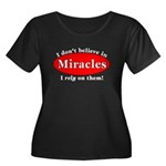 Miracles Women's Plus Size Scoop Neck Dark T-Shirt