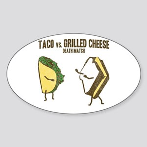 Taco VS Grilled Cheese Oval Sticker