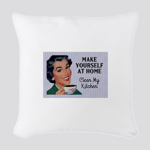 Make Yourself At Home Woven Throw Pillow