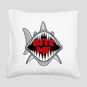 Bite Me Shark Square Canvas Pillow