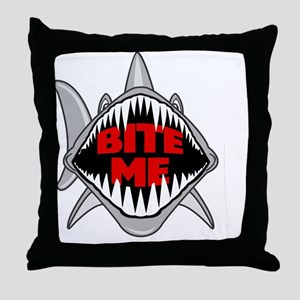 Bite Me Shark Throw Pillow