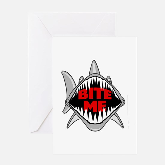 Bite Me Shark Greeting Cards