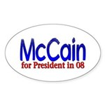 McCain for president in 08 Oval Sticker
