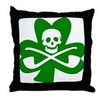 St. Patrick's Day Jolly Roger Throw Pillow