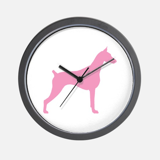 Pink Doberman Wall Clock
