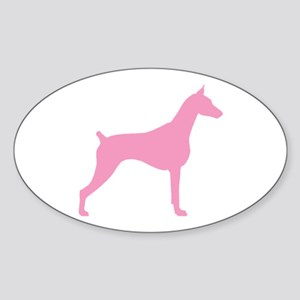 Pink Doberman Oval Sticker