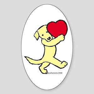 Yellow Labrador Retriever Oval Sticker