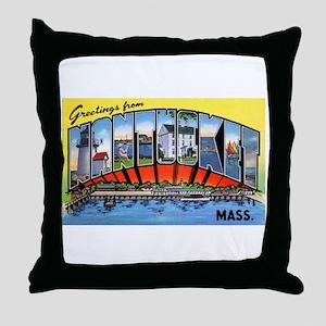 Nantucket Massachusetts Greetings Throw Pillow