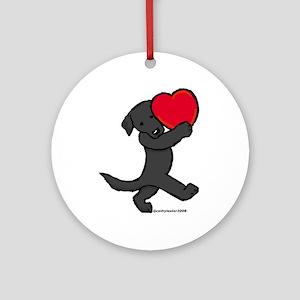 Black Lab Valentine Ornament (Round)