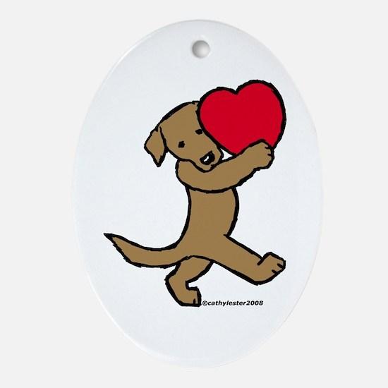 Chocolate Labrador Valentine Oval Ornament