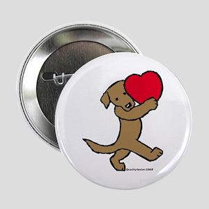 """Chocolate Labrador Valentine 2.25"""" Button"""