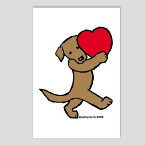 Chocolate Labrador Valentine Postcards (Package of