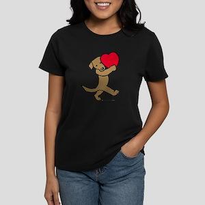 Chocolate Labrador Valentine Women's Dark T-Shirt
