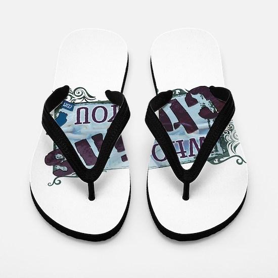 Who Chains You.com Logo Flip Flops