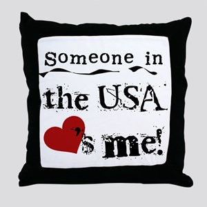 USA Loves Me Throw Pillow