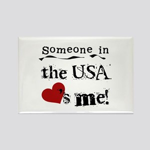 USA Loves Me Rectangle Magnet