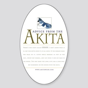 Advice from the Akita: Grass Oval Sticker