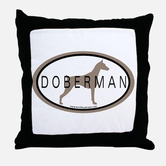 Doberman Dog Oval Throw Pillow