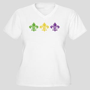 Fleur Mardi Swirl Women's Plus Size V-Neck T-Shirt