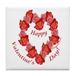 Rose Wreath, Valentine Tile Coaster