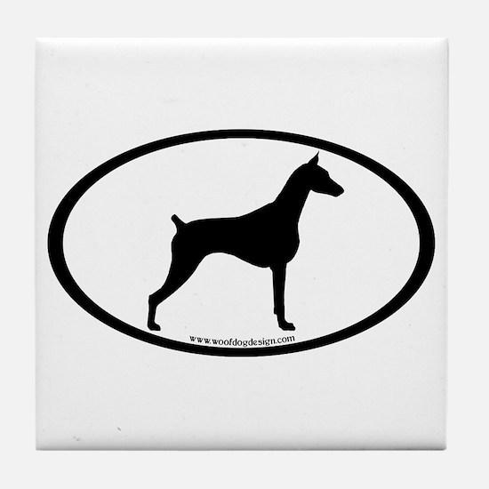 Doberman Pinscher Oval Tile Coaster