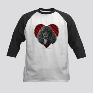 Black Poodle Valentine Kids Baseball Jersey
