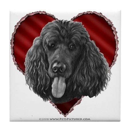 Black Poodle Valentine Tile Coaster